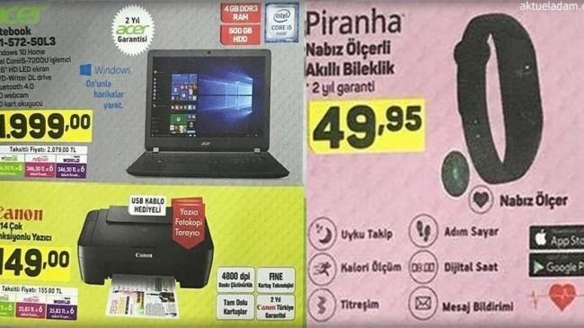 A101 17 Mayıs 2018 Pirahna Nabız Ölçeli Akıllı Bileklik Acer Notebook ve Canon E414 Çok Fonksiyonlu Yazıcı İncelemeleri