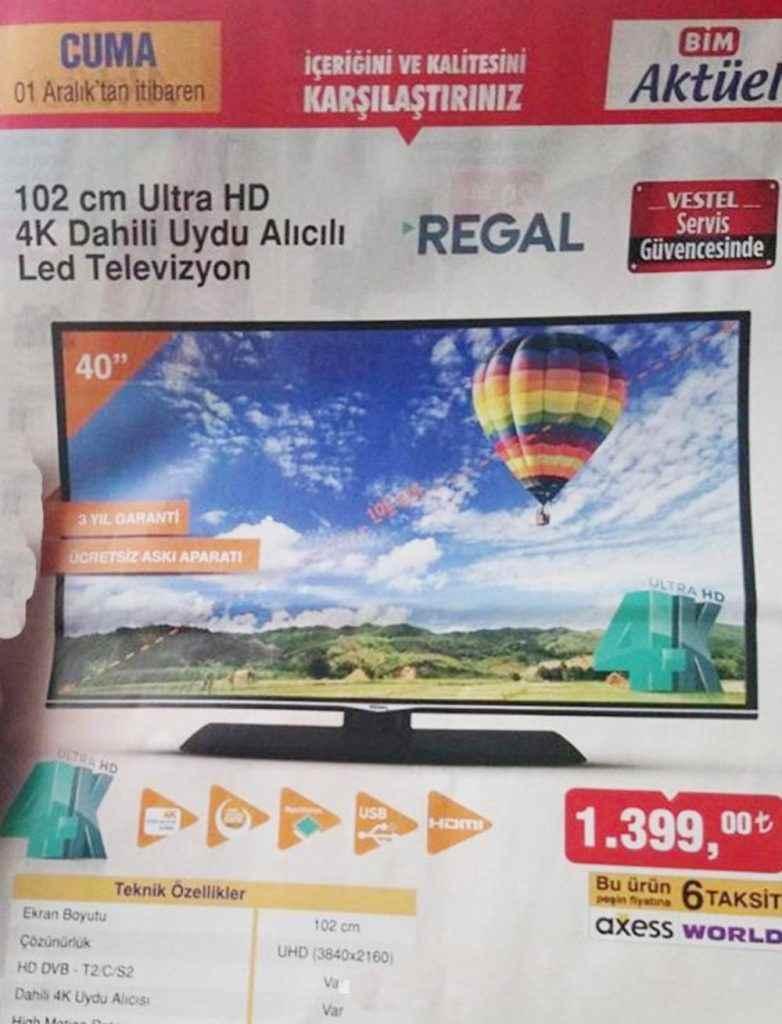 Bim 1 Aralık 2017 Aktüel Kataloğu Regal 102 cm Ultra Hd Tv