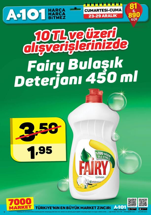 A101 23 Aralık 2017 Fairy bulaşık deterjanı