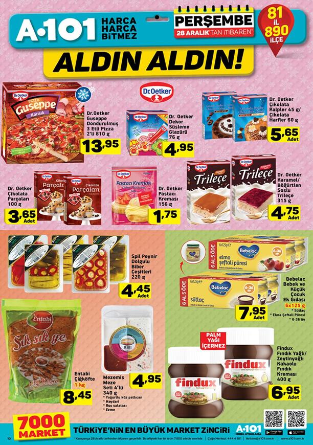 A101 28 Aralık 2017 dondurulmuş yiyecekler