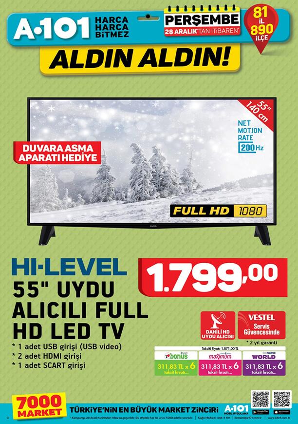 A101 28 Aralık 2017 uydu alıcılı fullhd tv