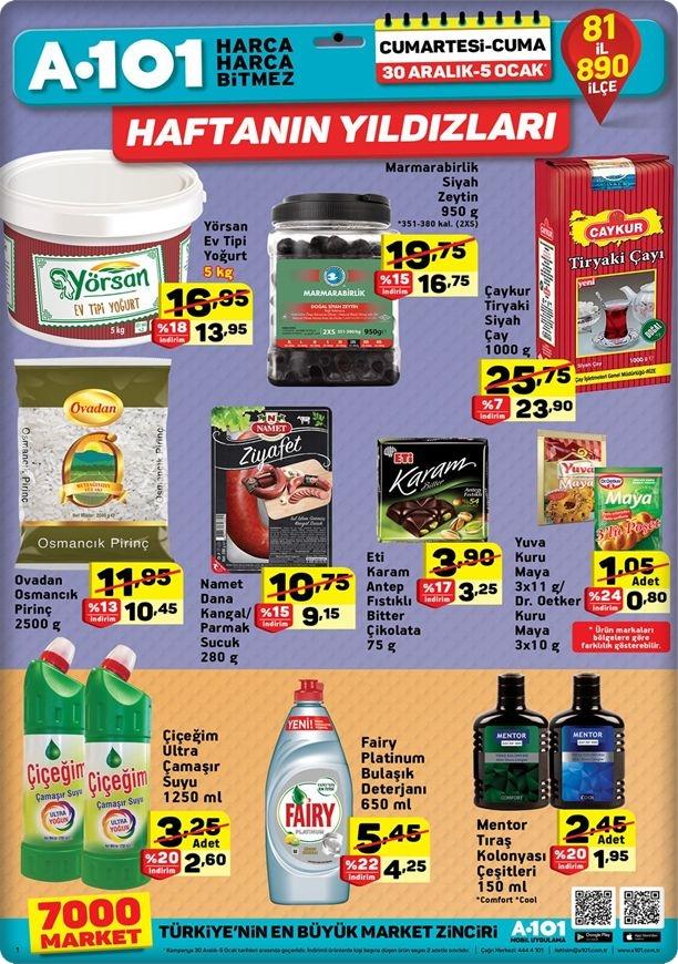 A101 30 Aralık 2017 Haftanın Fırsatları gıda ürünleri