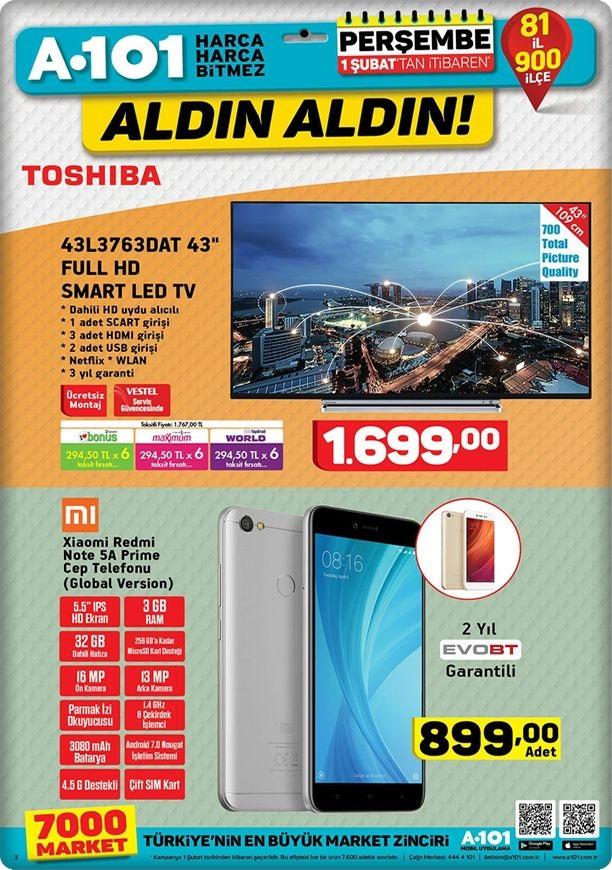 A101 1 Şubat 2018 xiaomi redmi note 5a prime cep telefonu