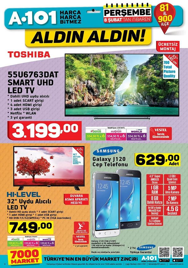 A101 8 Şubat 2018 toshiba 55u6763dat smart hd led tv