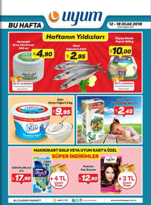 Uyum Market 12 Ocak 18 Ocak 2018 Kataloğu sayfa-1