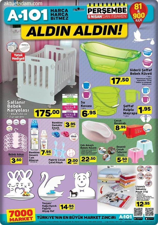 A101 Aktüel 5 Nisan sallanır bebek karyolası