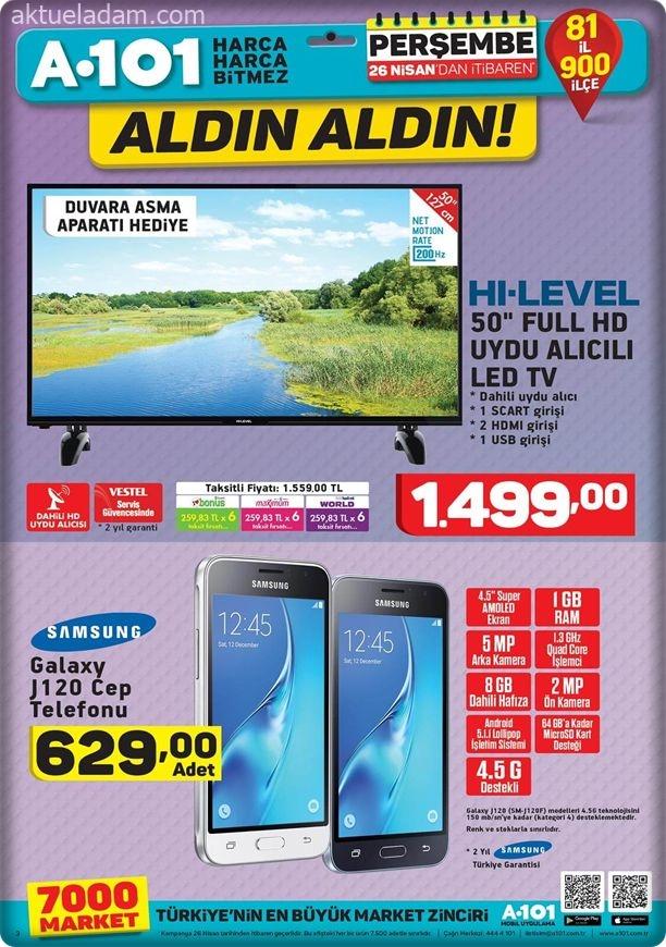 A101 26 Nisan 2018 samsung j120 cep telefonu