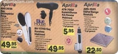 A101 31 Mayıs 2018 Aprilla Saç Düzleştirici Fırça Kulak Burun Kıl Kesme Makinesi Dijital Banyo Baskülü ve BlueHouseSaç Kurutma Makinesi İncelemeleri