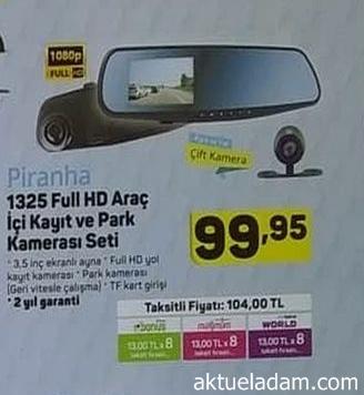 A101 5 Temmuz 2018 Piranha FullHD Araç İçi Kayıt ve Park Kamera Seti İncelemesi