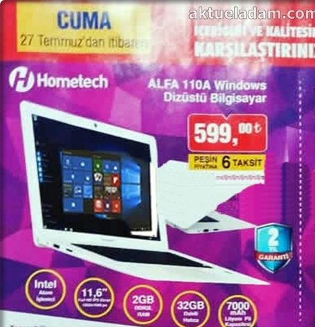 bim 27 temmuz 2018 hometech alfa 110a windows dizüstü bilgisayar