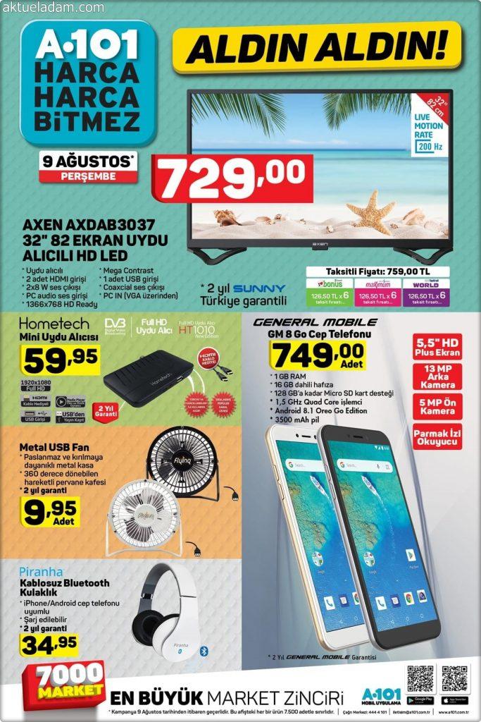 A101 9 Ağustos 2018 general mobile gm 8 go cep telefonu