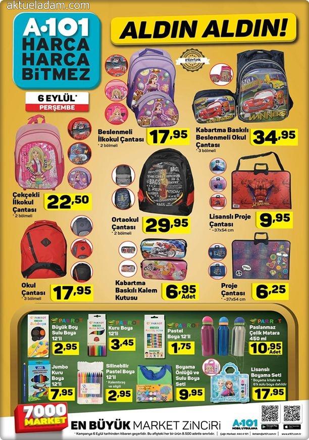 a101 6 eylül 2018 okul çantası çeşitleri