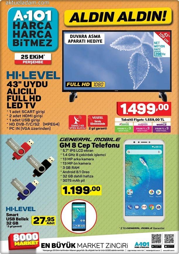 A101 25 Ekim 2018 generel mobile gm 8 cep telefonu
