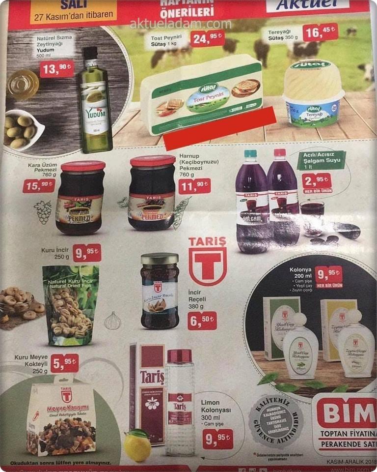 bim 27 kasım 2018 gıda ürünleri