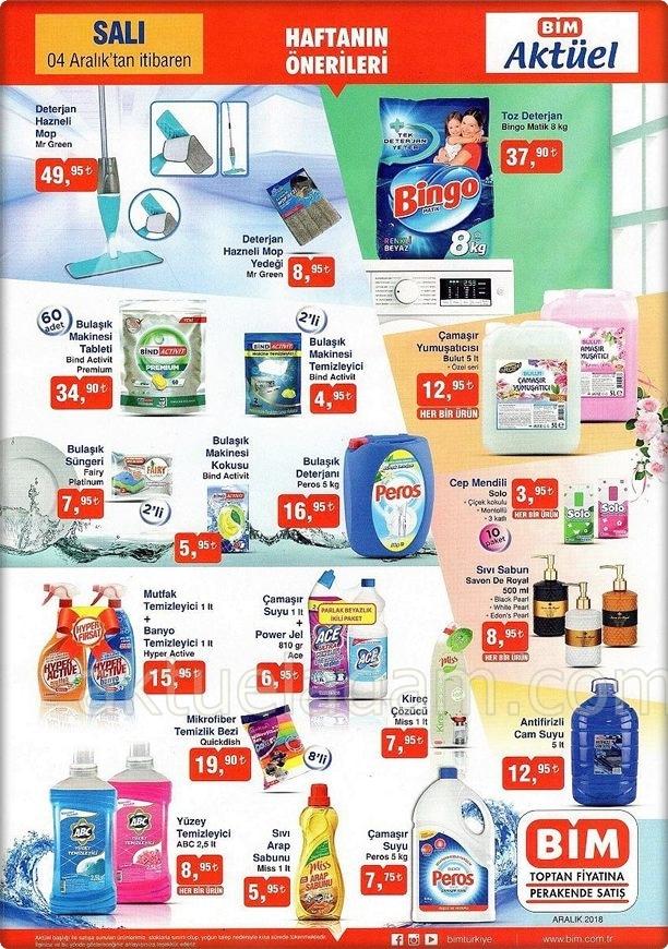 bim 4 aralık 2018 temizlik ürünleri