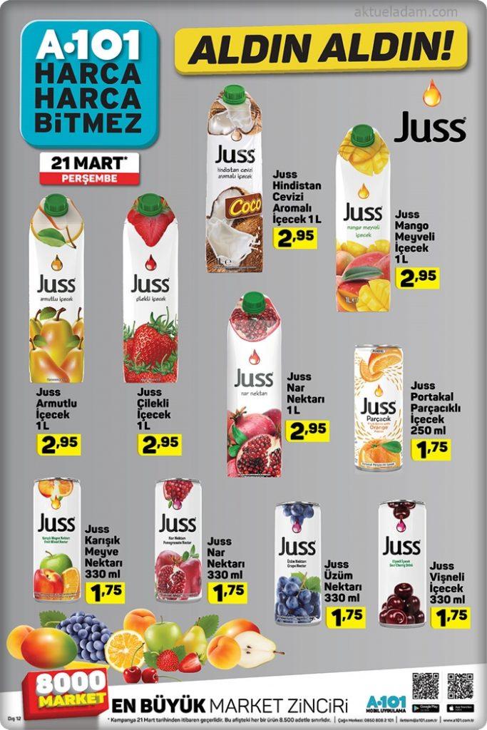 a101 21 mart 2019 juss meyve suyu çeşitleri