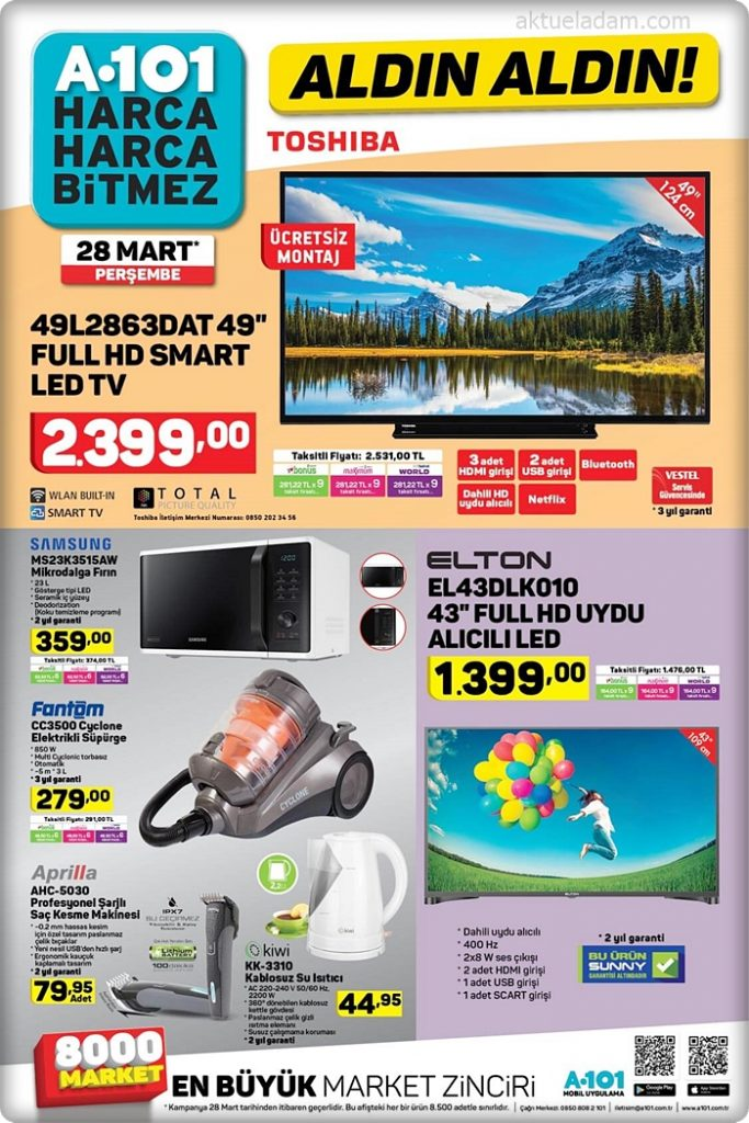 a101 28 mart 2019 elton 43 inç full hd tv