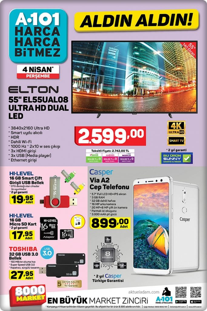 a101 4 nisan 2019 elton ultra hd dual led tv