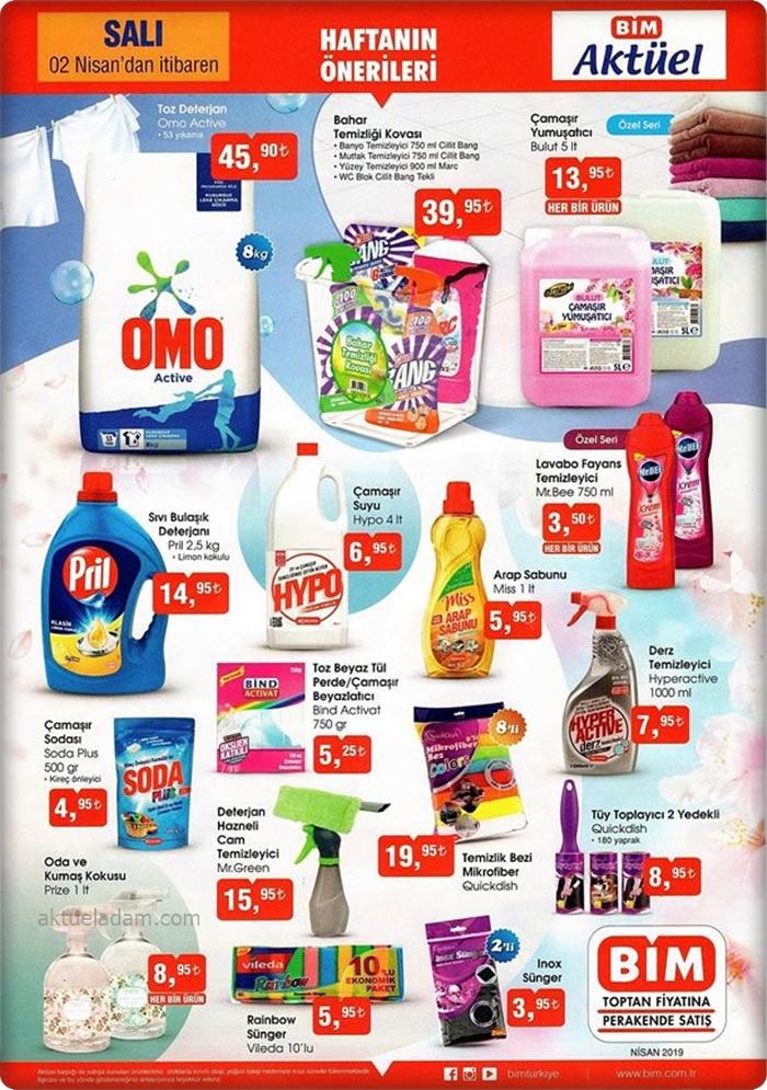 bim 2 nisan 2019 bahar temizliği ürünleri
