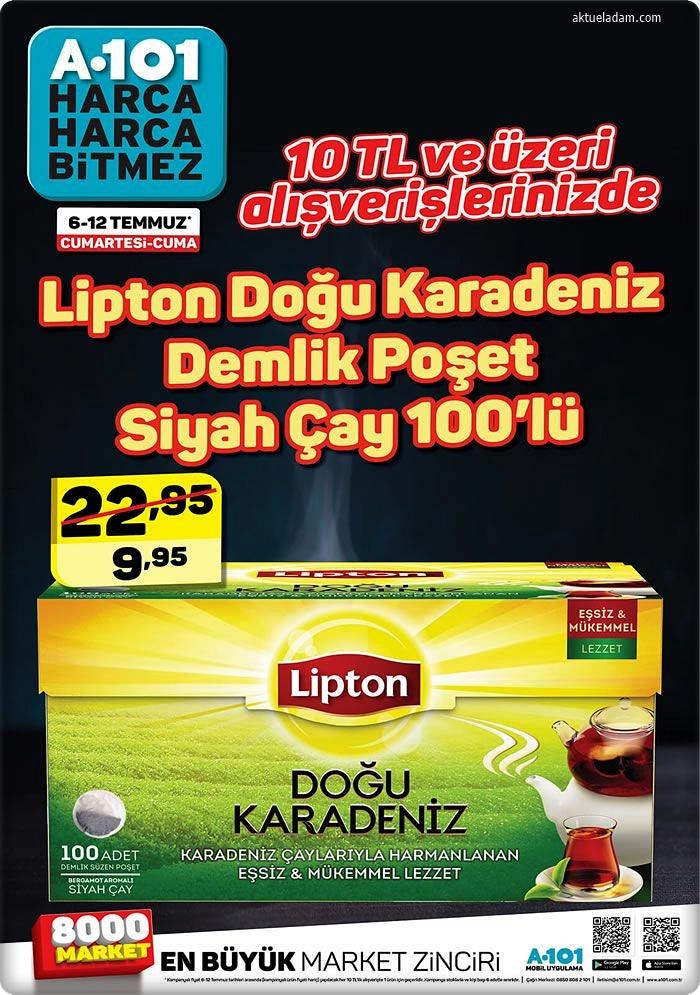 a101 6 temmuz 2019 lipton çay 10 lira üzeri indirim