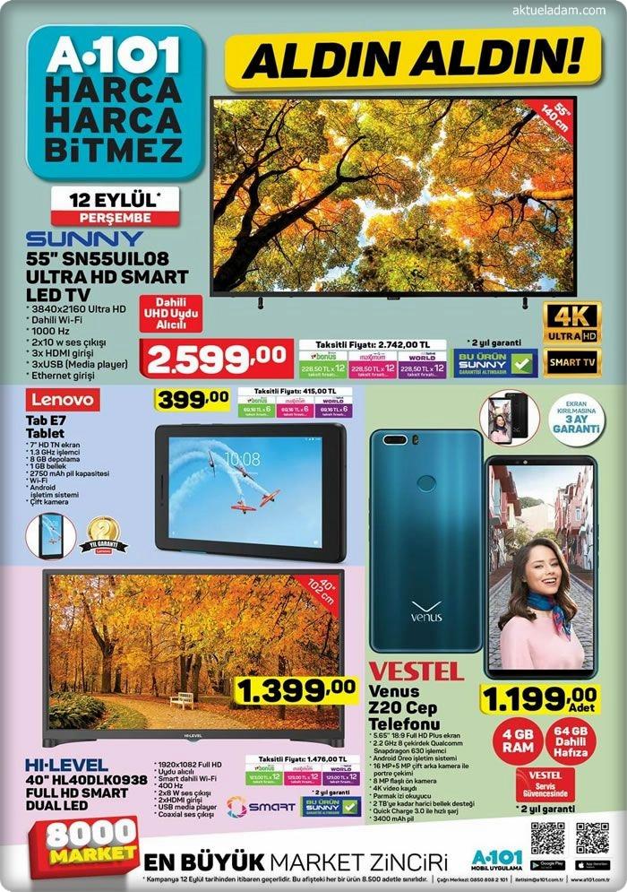 A101 12 Eylül 2019 lenovo tab7 tablet