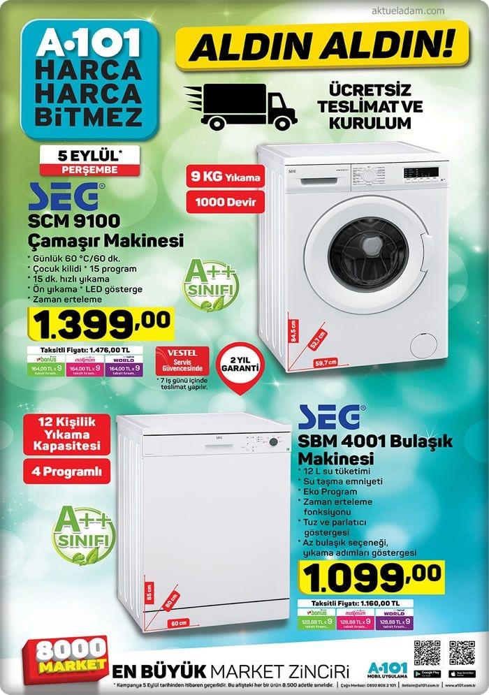 A101 5 Eylül 2019 seg çamaşır makinesi