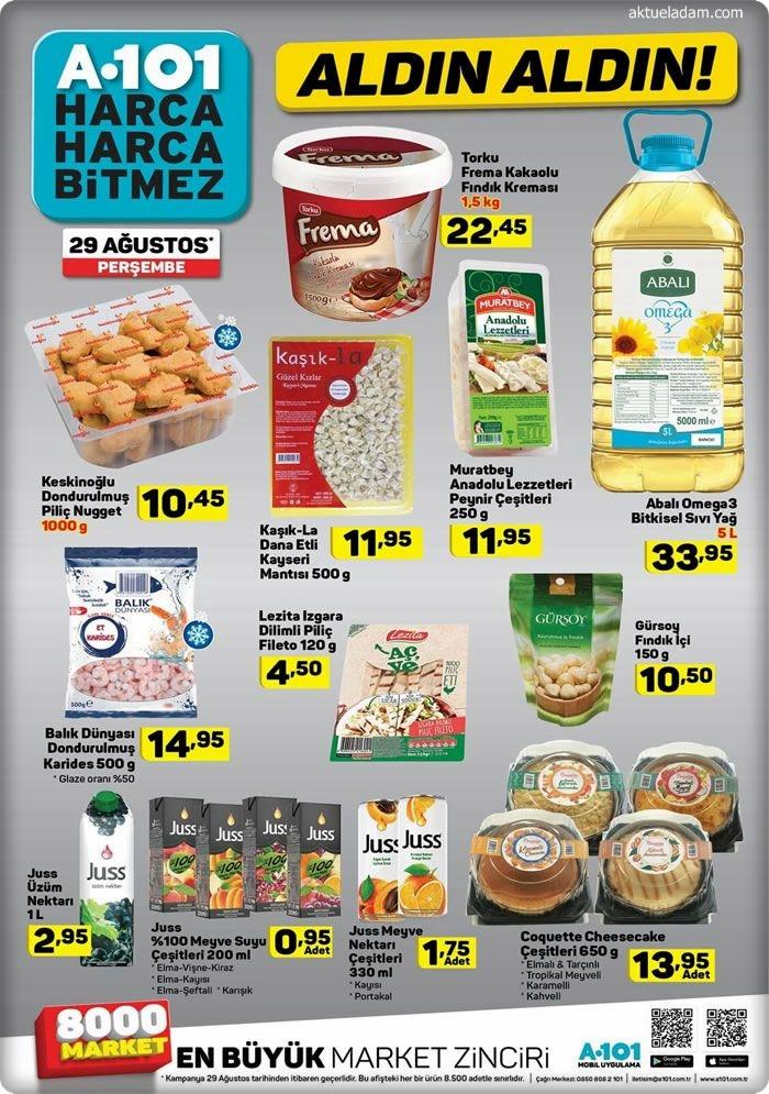 a101 29 ağustos gıda ürünleri