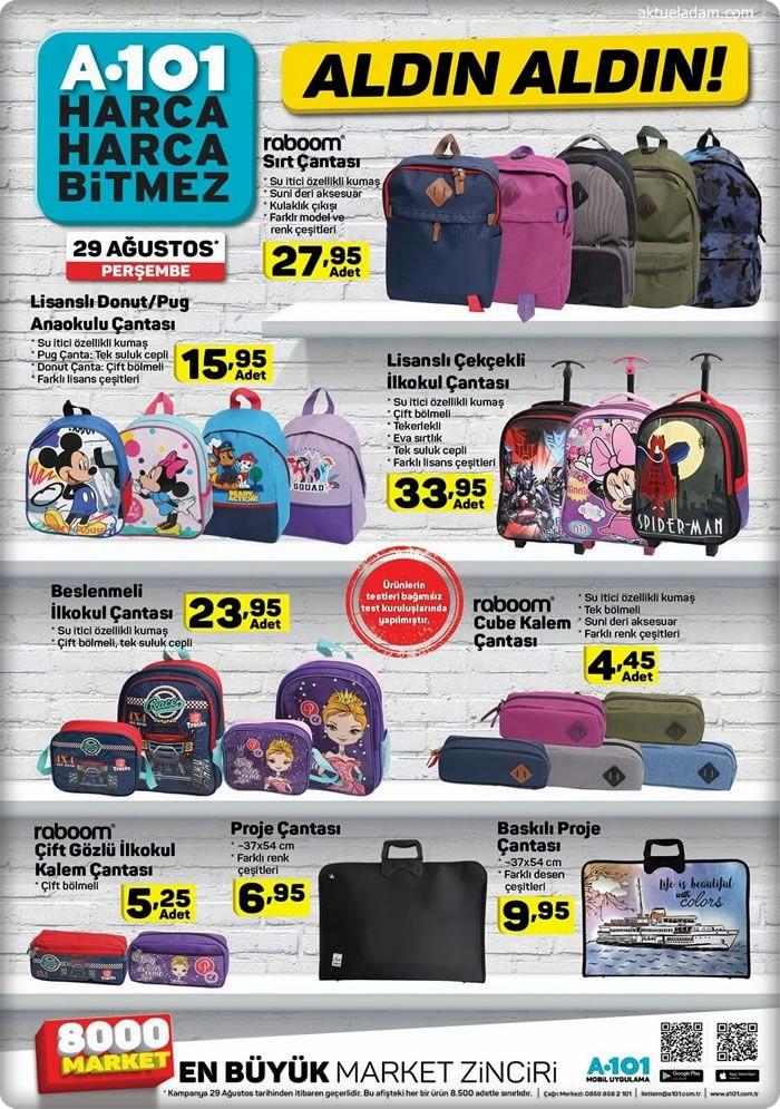 a101 29 ağustos okul çantası