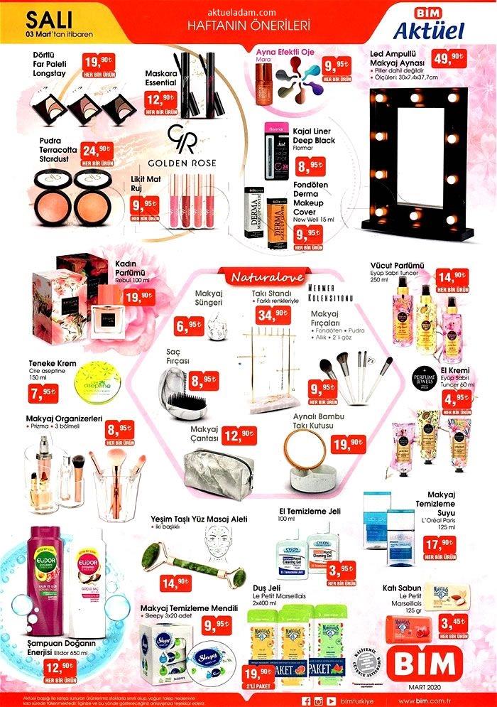 bim 3 mart 2020 kozmetik ürünler