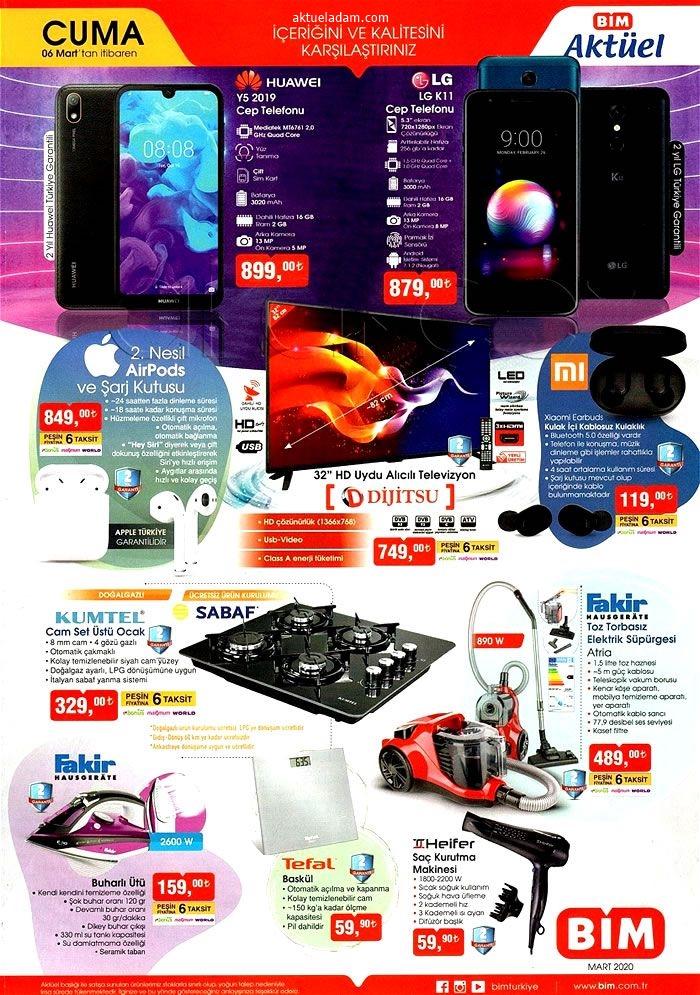 bim 6 mart 2020 telefon çeşitleri