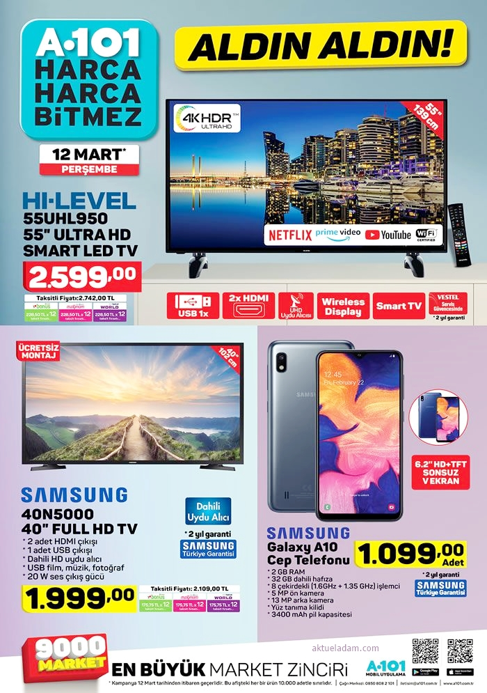 a101 12 mart 2020 elektronik ürünler