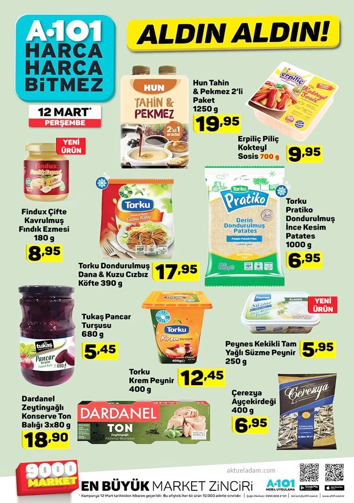 a101 12 mart 2020 gıda ürünleri