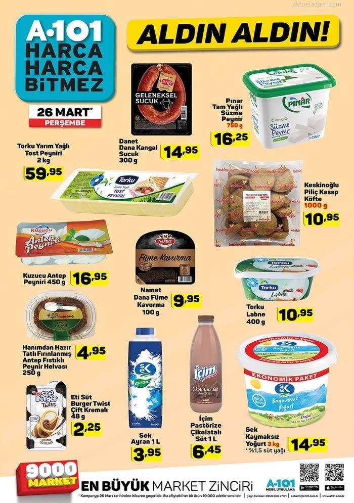 a101 26 mart 2020 gıda ürünleri