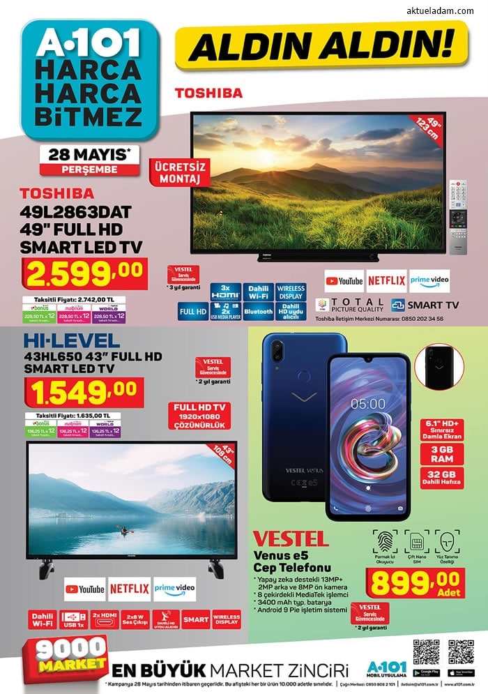 a101 28 mayıs 2020 hi level full hd tv