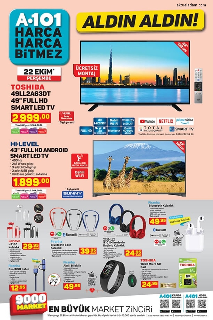 A101 22 Ekim 2020 televizyonlar