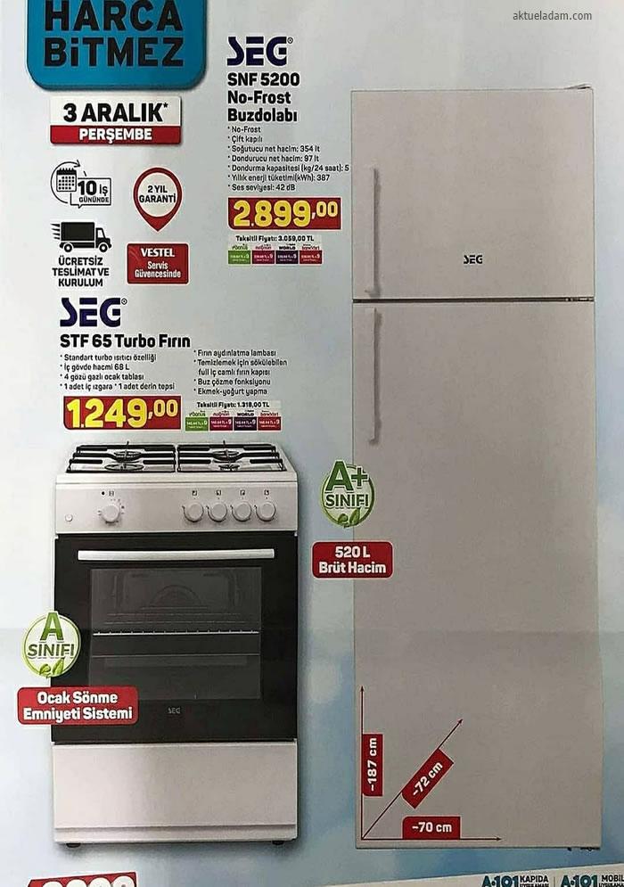 A101 3 Aralık 2020 seg buzdolabı