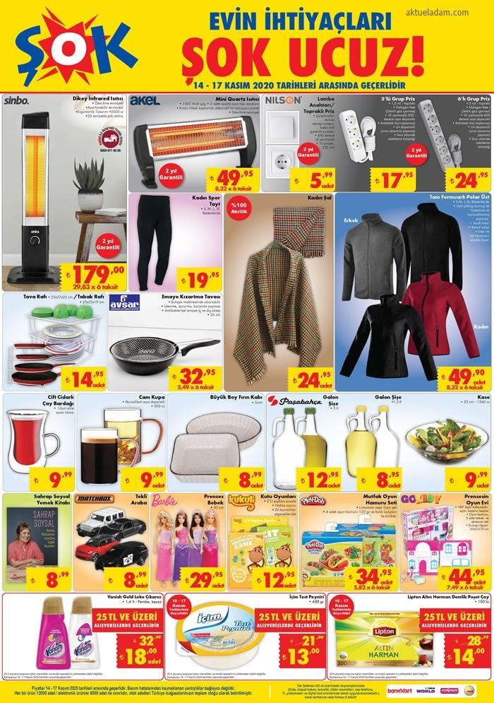 şok 14 kasım 2020 giyim ürünleri